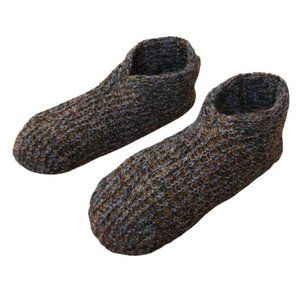 Vintage Earth Tone Hand Knitted Warm Cozy Slippers